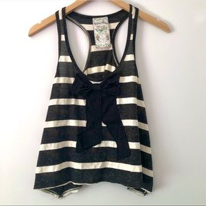 Black and white striped tank with black bow